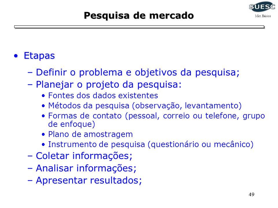 Definir o problema e objetivos da pesquisa;