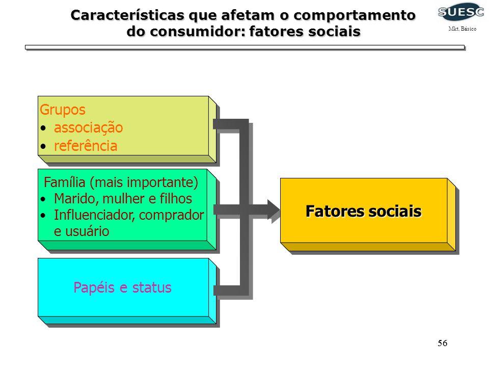 Fatores sociais Grupos associação referência Papéis e status