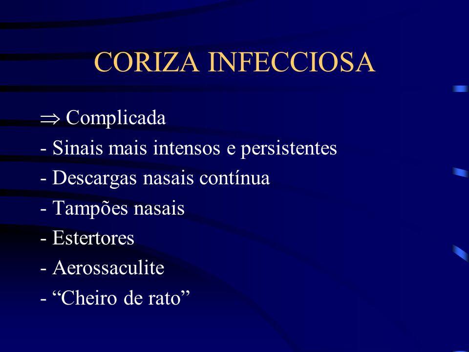 CORIZA INFECCIOSA  Complicada - Sinais mais intensos e persistentes