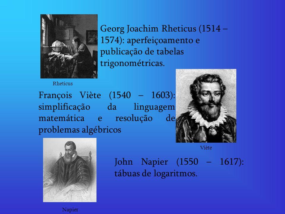 John Napier (1550 – 1617): tábuas de logaritmos.