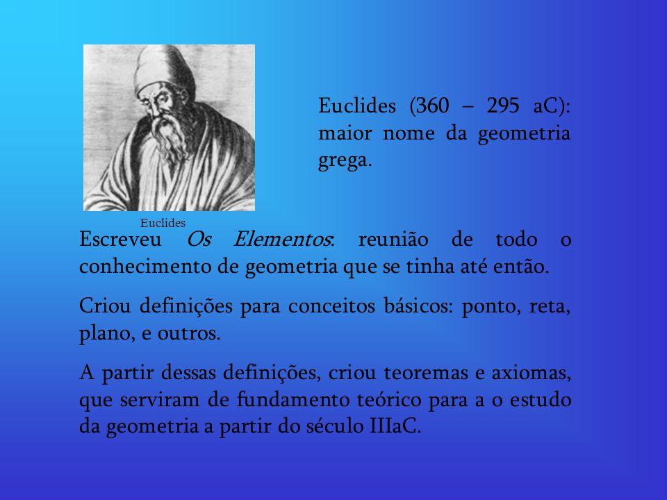 Euclides (360 – 295 aC): maior nome da geometria grega.