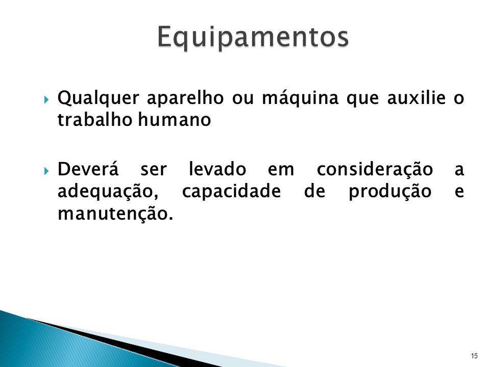 Equipamentos Qualquer aparelho ou máquina que auxilie o trabalho humano.