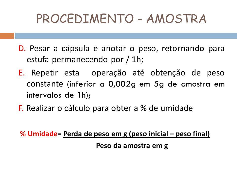 PROCEDIMENTO - AMOSTRA