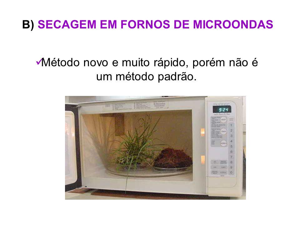 B) SECAGEM EM FORNOS DE MICROONDAS