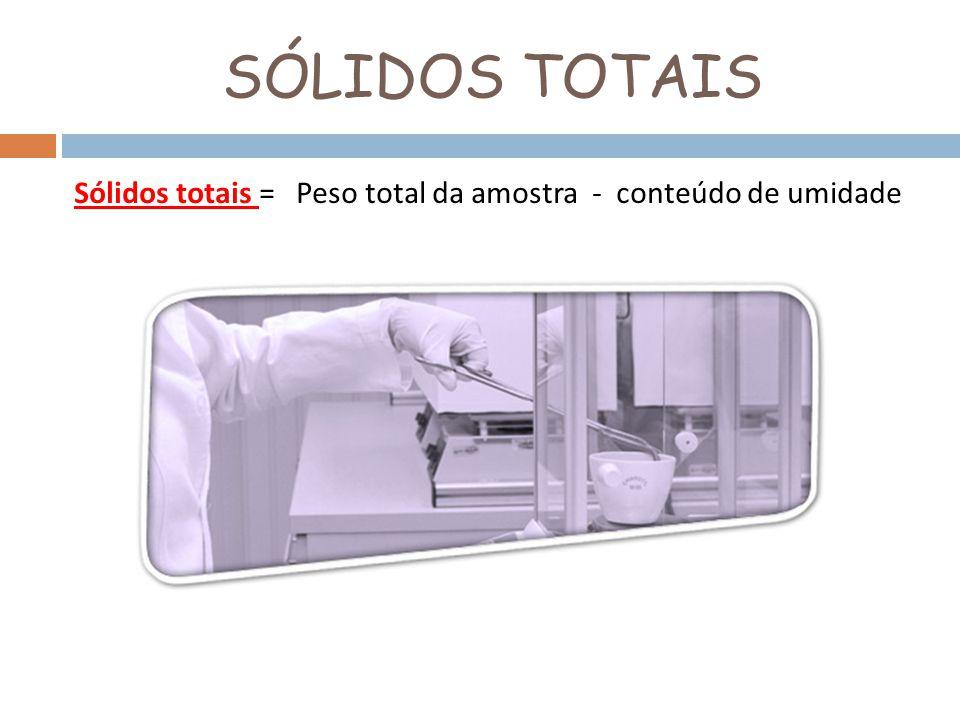 SÓLIDOS TOTAIS Sólidos totais = Peso total da amostra - conteúdo de umidade