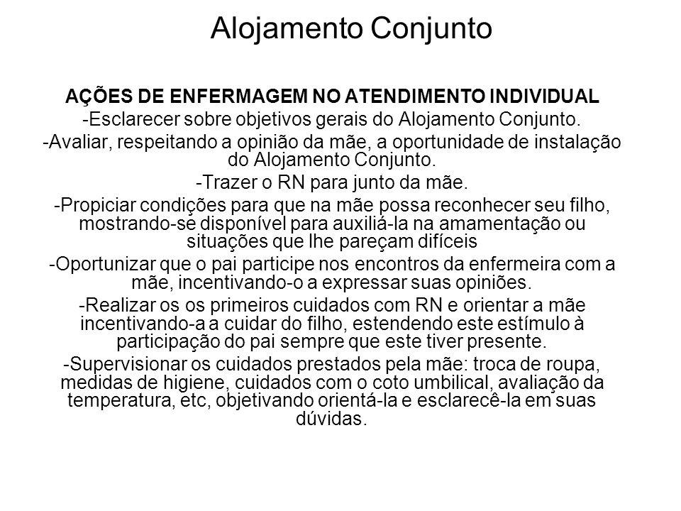 Alojamento Conjunto AÇÕES DE ENFERMAGEM NO ATENDIMENTO INDIVIDUAL