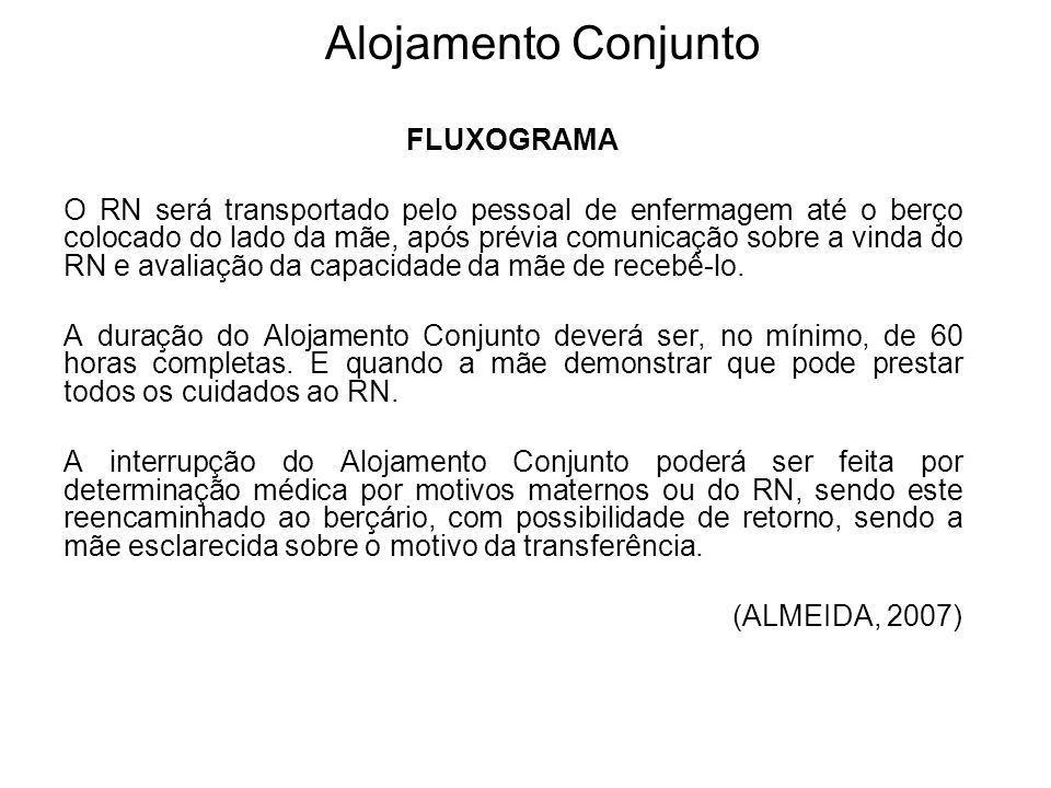 Alojamento Conjunto FLUXOGRAMA