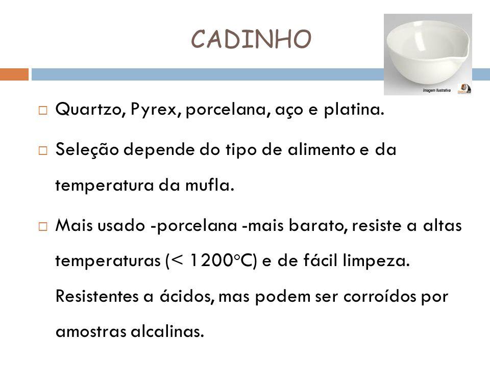 CADINHO Quartzo, Pyrex, porcelana, aço e platina.