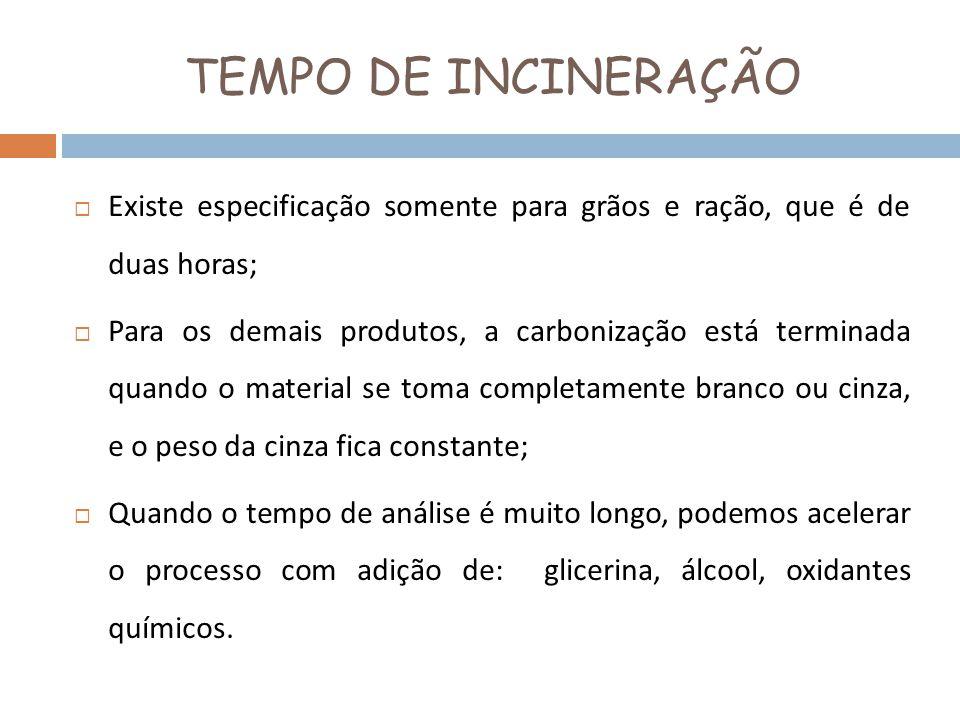 TEMPO DE INCINERAÇÃO Existe especificação somente para grãos e ração, que é de duas horas;