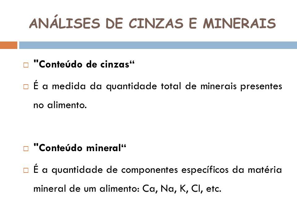 ANÁLISES DE CINZAS E MINERAIS