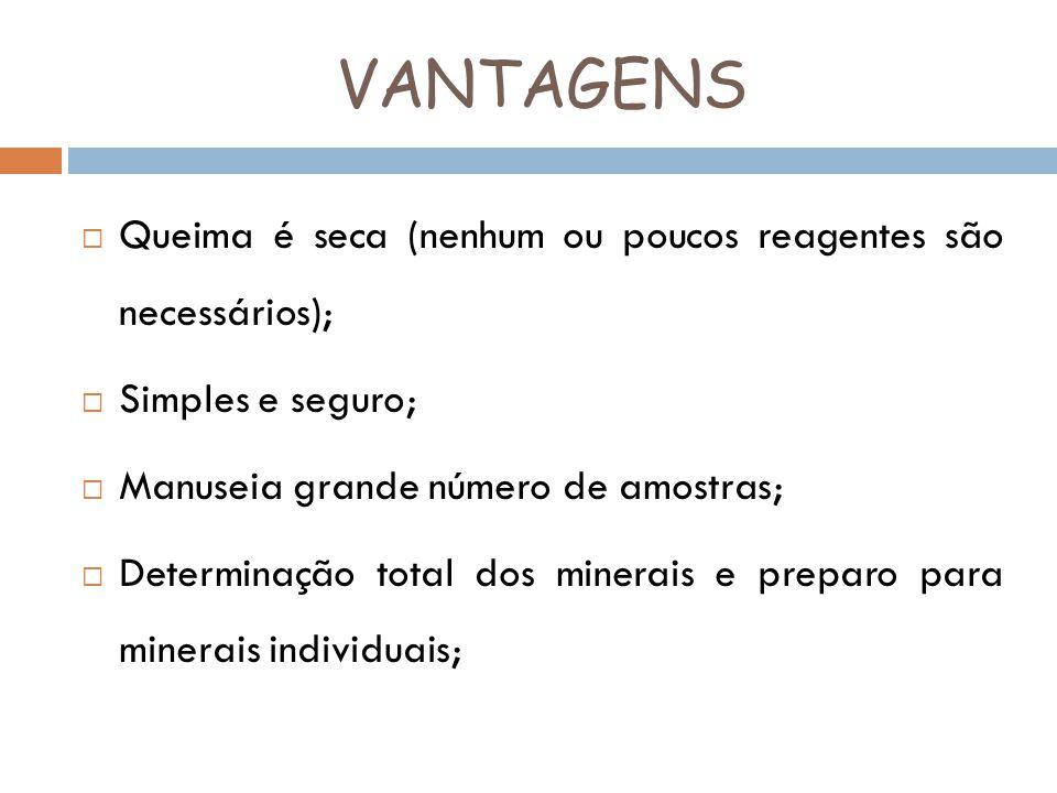 VANTAGENS Queima é seca (nenhum ou poucos reagentes são necessários);
