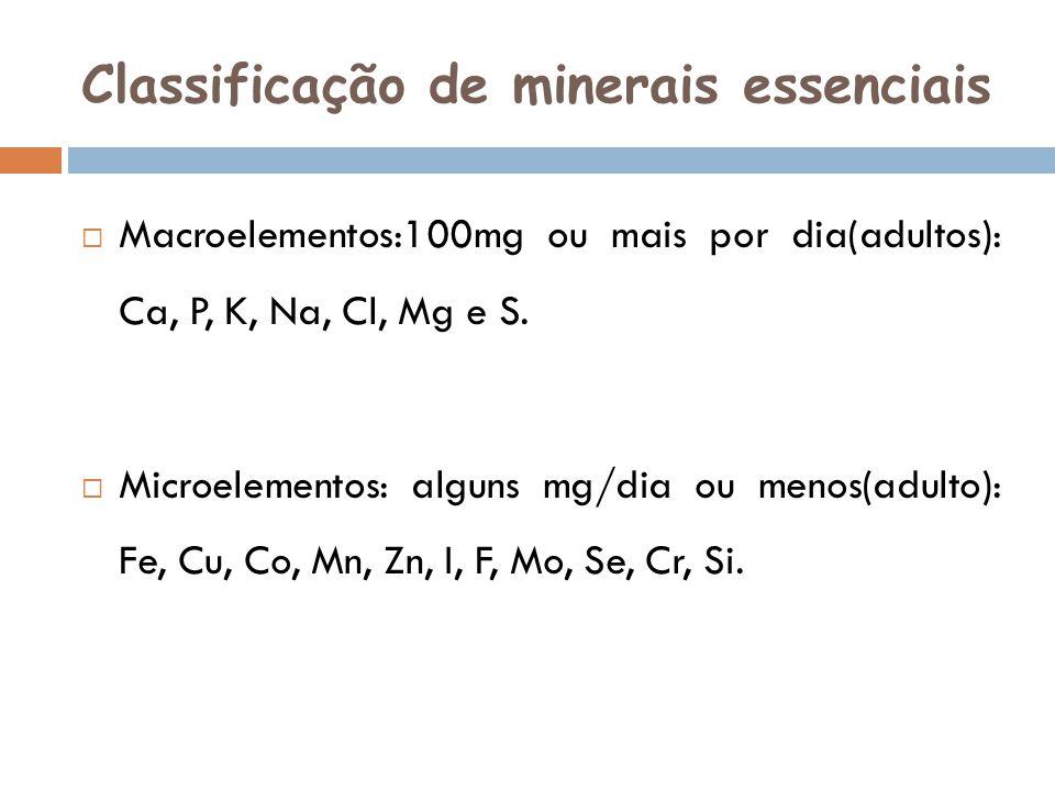 Classificação de minerais essenciais