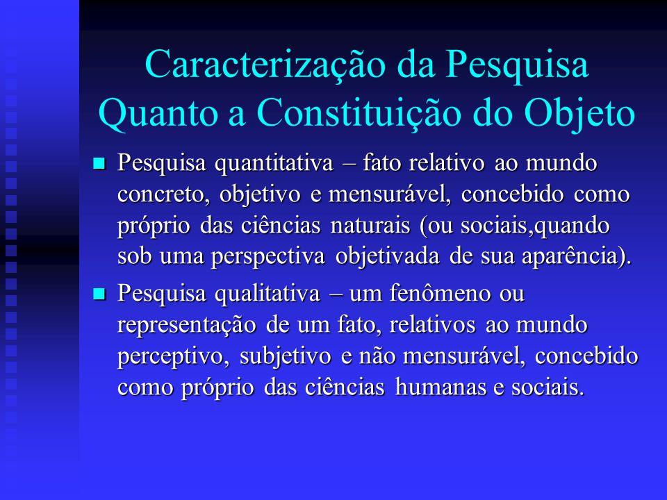Caracterização da Pesquisa Quanto a Constituição do Objeto