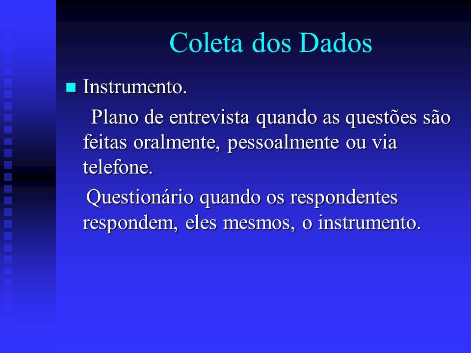 Coleta dos Dados Instrumento.