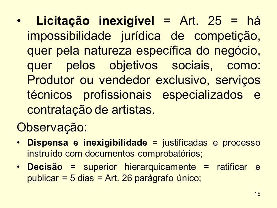 Licitação inexigível = Art