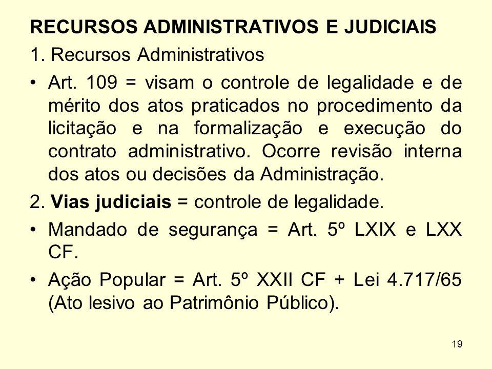 RECURSOS ADMINISTRATIVOS E JUDICIAIS