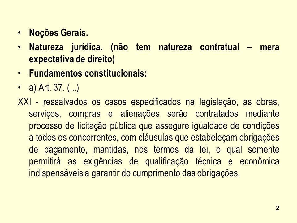 Noções Gerais. Natureza jurídica. (não tem natureza contratual – mera expectativa de direito) Fundamentos constitucionais: