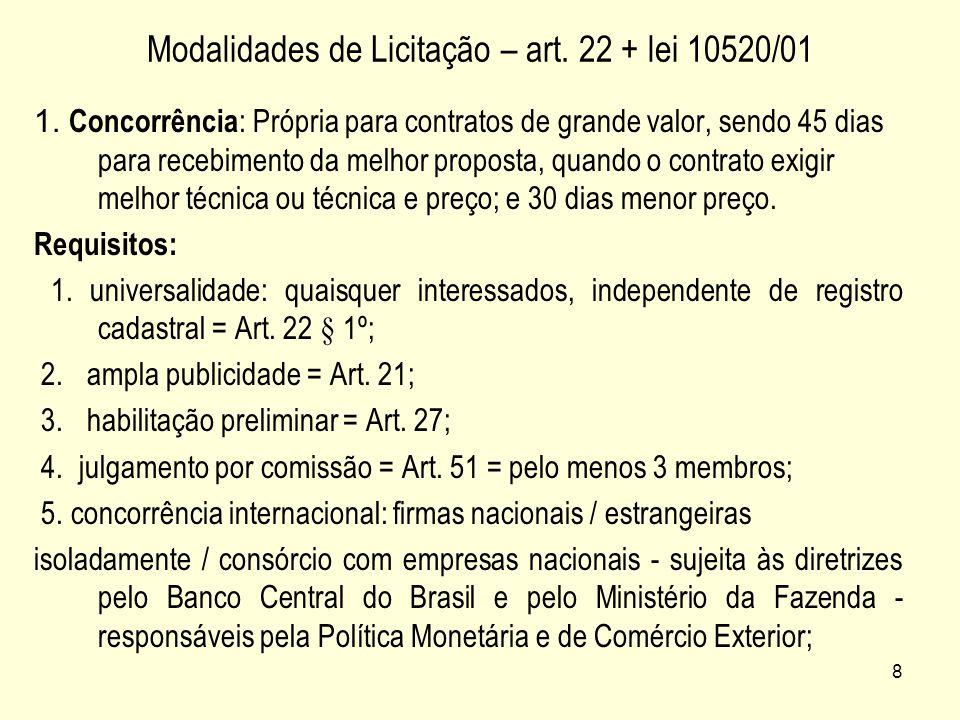 Modalidades de Licitação – art. 22 + lei 10520/01