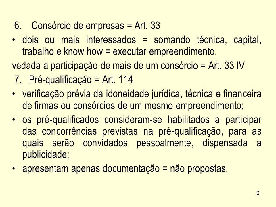 6. Consórcio de empresas = Art. 33