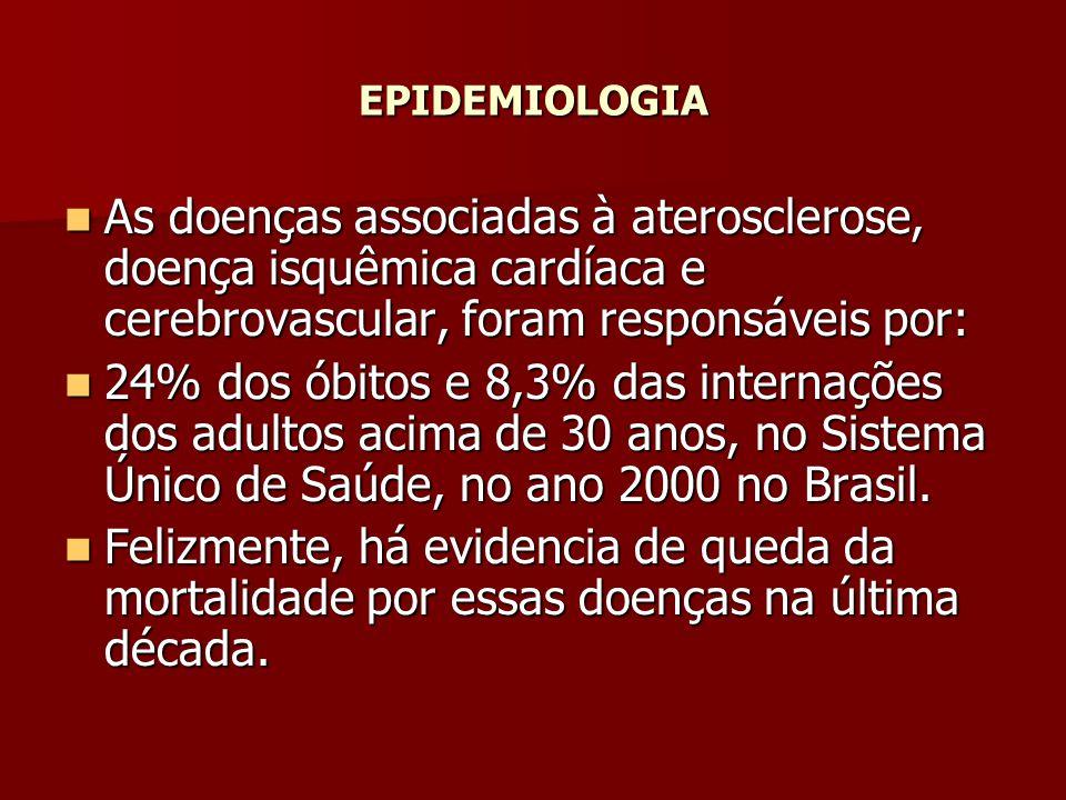 EPIDEMIOLOGIA As doenças associadas à aterosclerose, doença isquêmica cardíaca e cerebrovascular, foram responsáveis por: