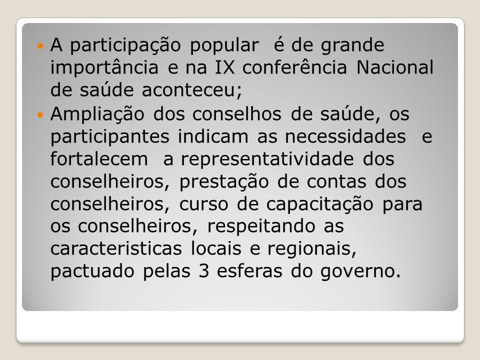 A participação popular é de grande importância e na IX conferência Nacional de saúde aconteceu;