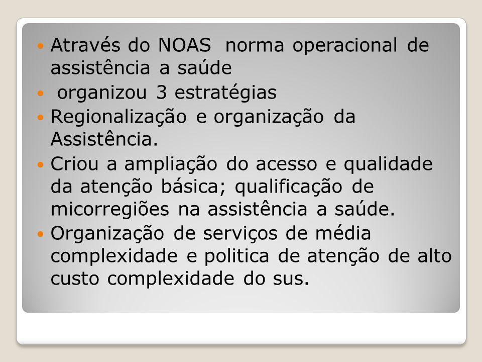 Através do NOAS norma operacional de assistência a saúde