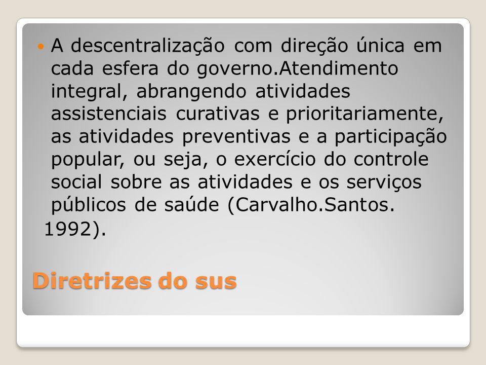 A descentralização com direção única em cada esfera do governo