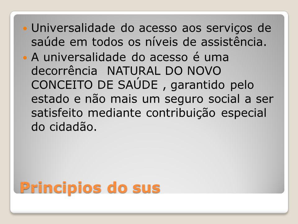 Universalidade do acesso aos serviços de saúde em todos os níveis de assistência.