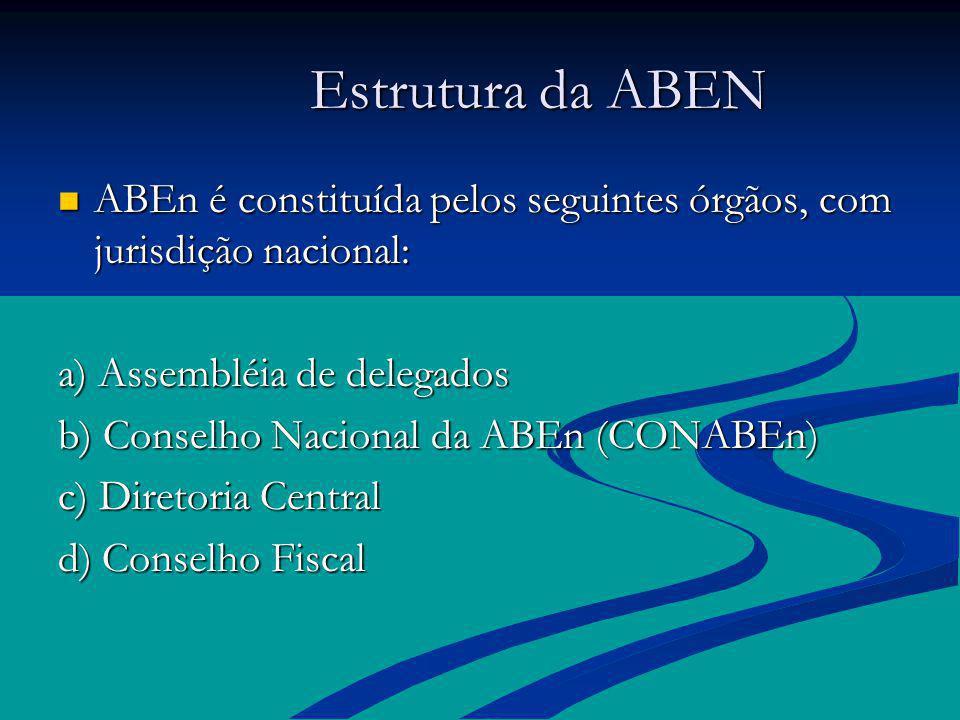Estrutura da ABEN ABEn é constituída pelos seguintes órgãos, com jurisdição nacional: a) Assembléia de delegados.