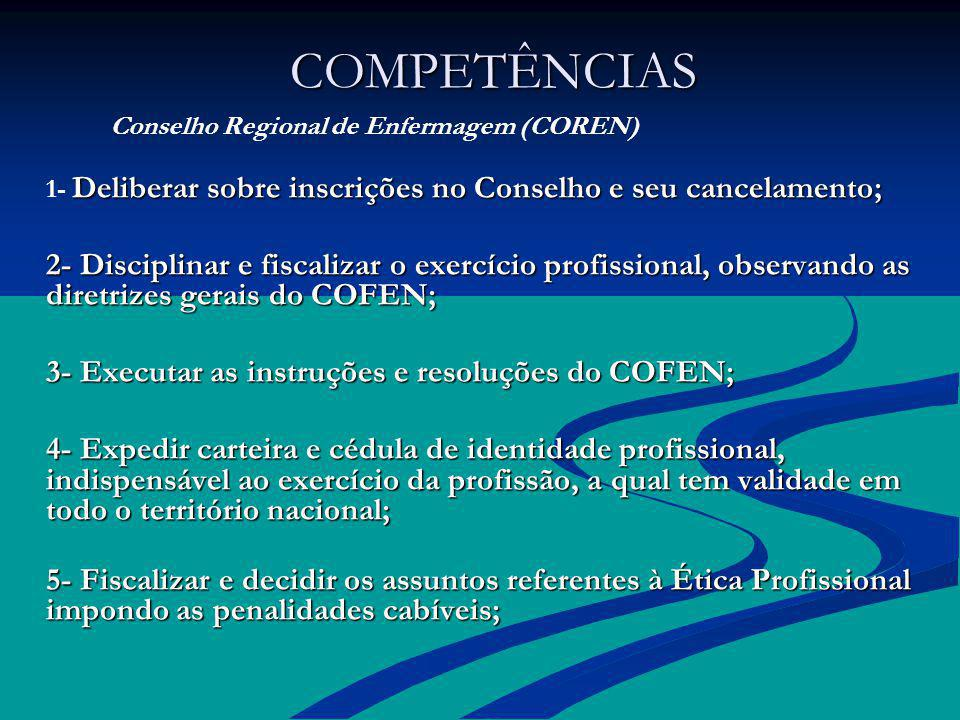 COMPETÊNCIAS Conselho Regional de Enfermagem (COREN) 1- Deliberar sobre inscrições no Conselho e seu cancelamento;