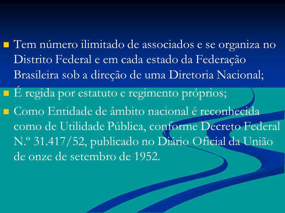 Tem número ilimitado de associados e se organiza no Distrito Federal e em cada estado da Federação Brasileira sob a direção de uma Diretoria Nacional;