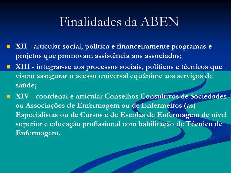 Finalidades da ABEN XII - articular social, política e financeiramente programas e projetos que promovam assistência aos associados;