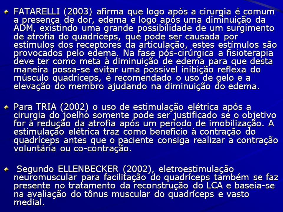 FATARELLI (2003) afirma que logo após a cirurgia é comum a presença de dor, edema e logo após uma diminuição da ADM, existindo uma grande possibilidade de um surgimento de atrofia do quadríceps, que pode ser causada por estímulos dos receptores da articulação, estes estímulos são provocados pelo edema. Na fase pós-cirúrgica a fisioterapia deve ter como meta à diminuição de edema para que desta maneira possa-se evitar uma possível inibição reflexa do músculo quadríceps, é recomendado o uso de gelo e a elevação do membro ajudando na diminuição do edema.