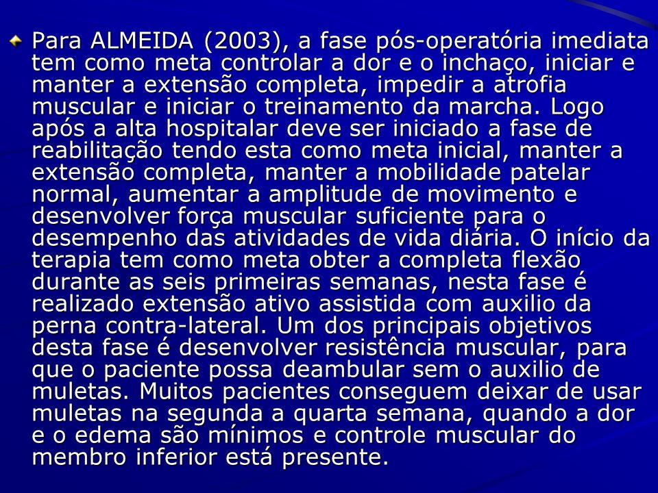 Para ALMEIDA (2003), a fase pós-operatória imediata tem como meta controlar a dor e o inchaço, iniciar e manter a extensão completa, impedir a atrofia muscular e iniciar o treinamento da marcha.