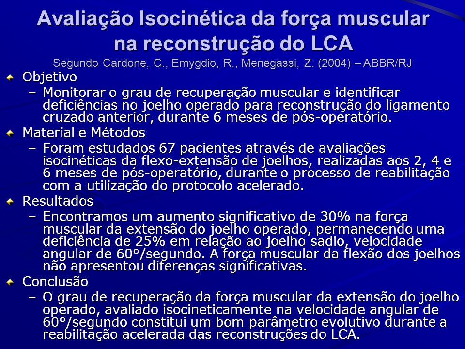 Avaliação Isocinética da força muscular na reconstrução do LCA