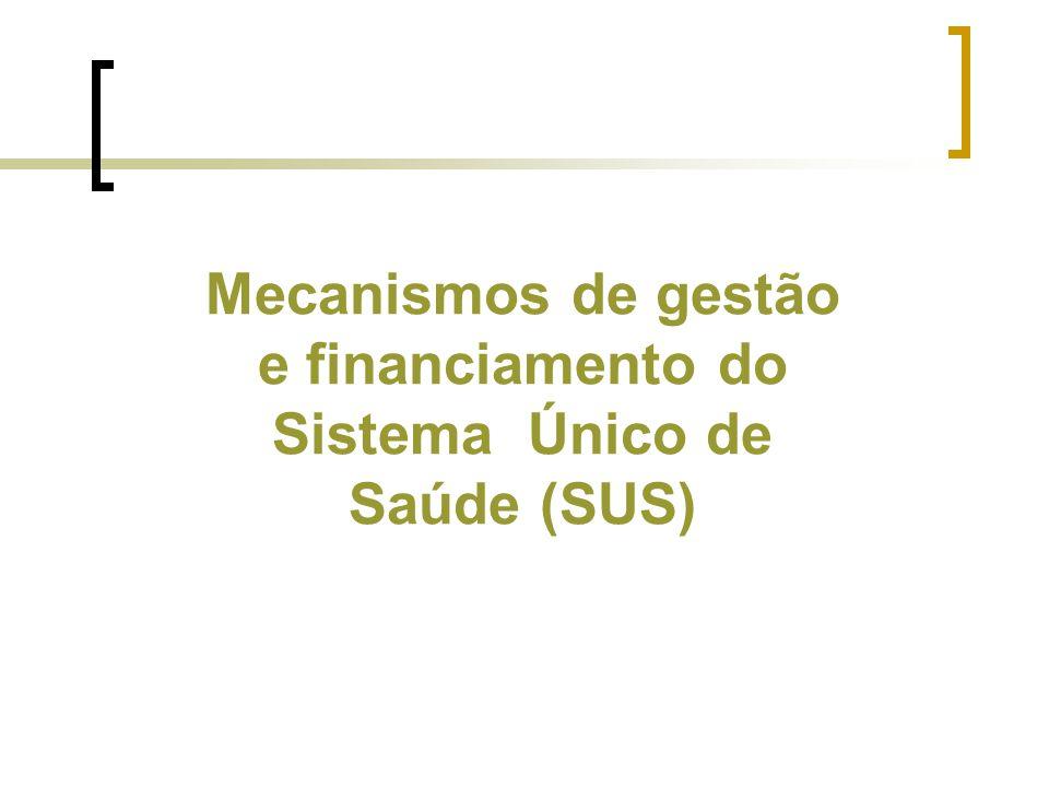 Mecanismos de gestão e financiamento do Sistema Único de Saúde (SUS)