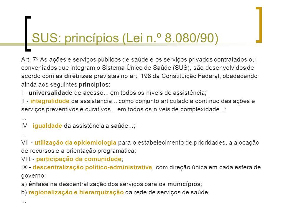 SUS: princípios (Lei n.º 8.080/90)