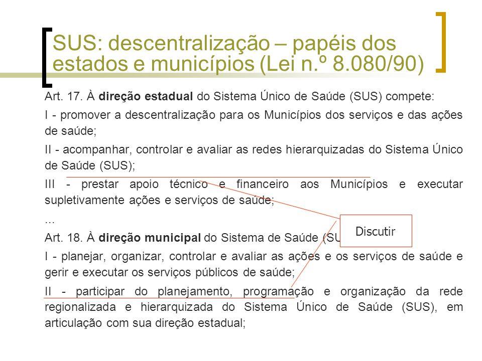SUS: descentralização – papéis dos estados e municípios (Lei n. º 8