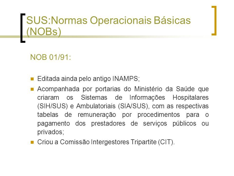 SUS:Normas Operacionais Básicas (NOBs)
