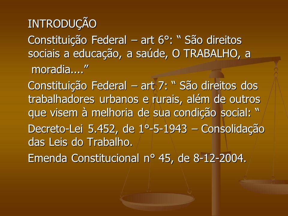 INTRODUÇÃO Constituição Federal – art 6°: São direitos sociais a educação, a saúde, O TRABALHO, a.