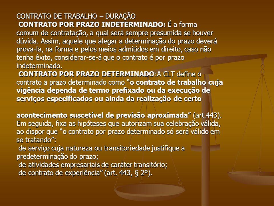 CONTRATO DE TRABALHO – DURAÇÃO