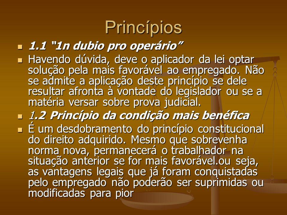 Princípios 1.1 1n dubio pro operário