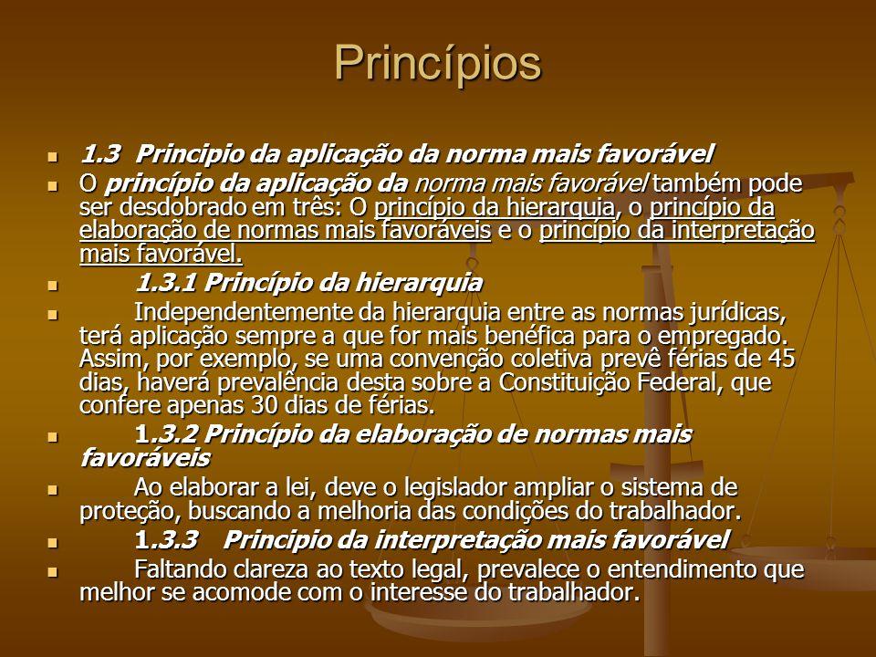 Princípios 1.3 Principio da aplicação da norma mais favorável