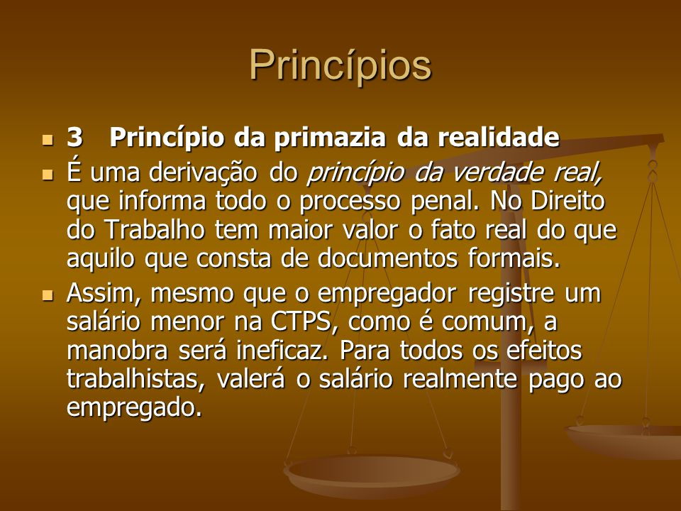 Princípios 3 Princípio da primazia da realidade
