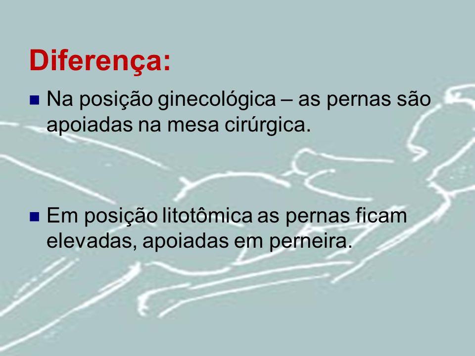 Diferença: Na posição ginecológica – as pernas são apoiadas na mesa cirúrgica.
