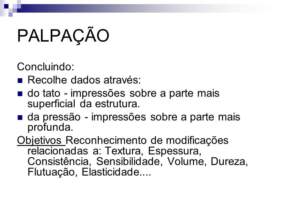 PALPAÇÃO Concluindo: Recolhe dados através:
