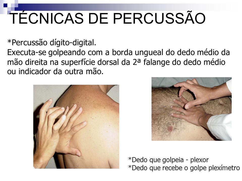 TÉCNICAS DE PERCUSSÃO Percussão dígito-digital.