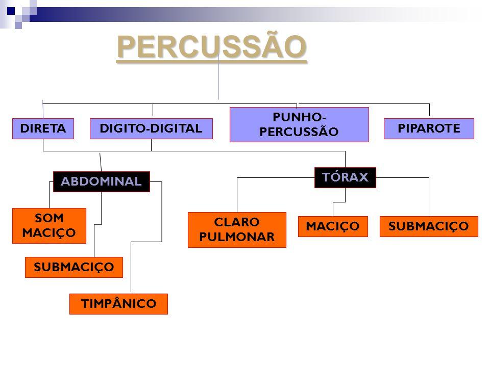 PERCUSSÃO PUNHO-PERCUSSÃO DIRETA DIGITO-DIGITAL PIPAROTE TÓRAX