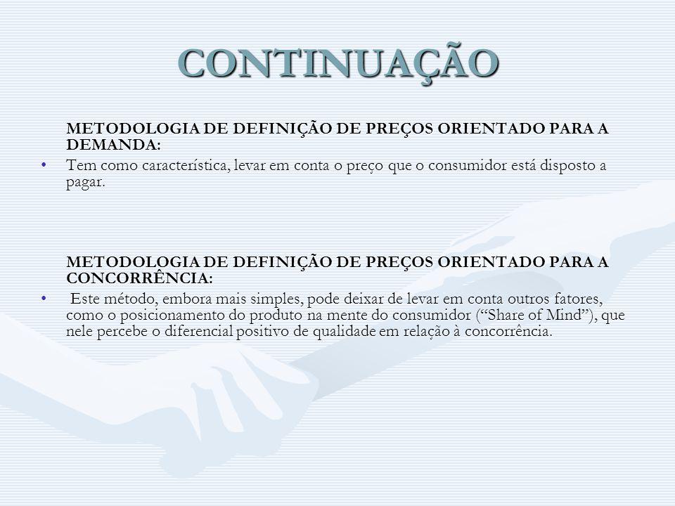 CONTINUAÇÃO METODOLOGIA DE DEFINIÇÃO DE PREÇOS ORIENTADO PARA A DEMANDA: