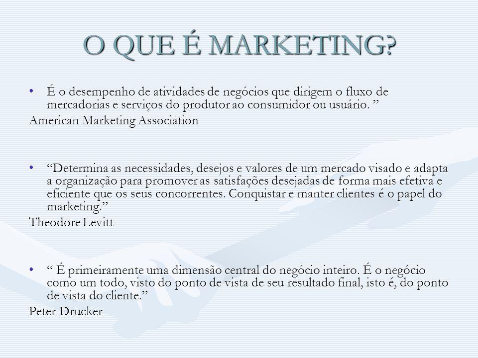O QUE É MARKETING É o desempenho de atividades de negócios que dirigem o fluxo de mercadorias e serviços do produtor ao consumidor ou usuário.
